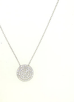 Glitzy Thingz Silver Pave Disc Necklace