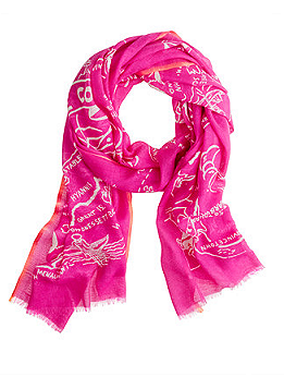 J Crew Wool-Silk Map Scarf