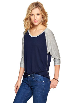 GAP Drapey Baseball Tee in Navy